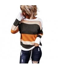 U.S. High Fashion Contrast Strips Design Women Top - Orange