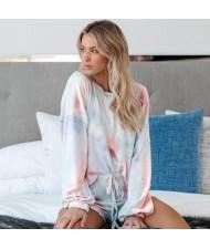 U.S. Fashion Dyed Printing Women Homewear/ Pajamas Suit - Orange and Blue