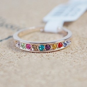 Single-row Multi-color Austrian Crystal Drilling Rose Gold Ring