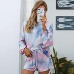 U.S. Fashion Dyed Printing Women Homewear/ Pajamas Suit - Pinky Blue