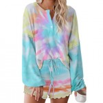 U.S. Fashion Dyed Printing Women Homewear/ Pajamas Suit - Colorful Blue