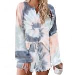 U.S. Fashion Dyed Gray Gradient Color Flowers Printing Women Homewear/ Pajamas Suit