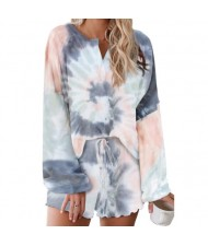 U.S. Fashion Dyed Gray Gradient Color Flowers Printing Women Homewear/ Pajamas Suit