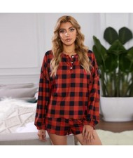 U.S. Fashion Red Plaids Dyed Printing Women Homewear/ Pajamas Suit