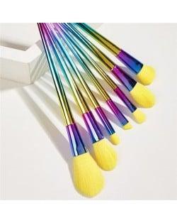 7 pcs Gradient Color Aluminum Tube Yellow Makeup Brushes Set