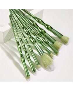 8 pcs Green Knots Plastic Handle Makeup Brushes Set