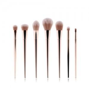 7 pcs Champagne Gold Handle High Fashion Women Makeup Brushes Set