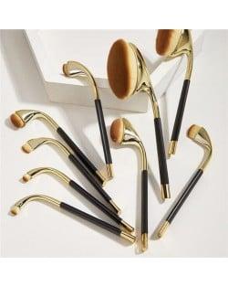 9 pcs Bended Brush Design High Fashion Women Makeup Brushes Set - Gold