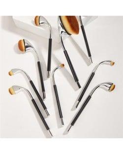 9 pcs Bended Brush Design High Fashion Women Makeup Brushes Set - Silver