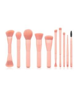 10 pcs Pink Wooden Handle High Fashion Women Makeup Brushes Set