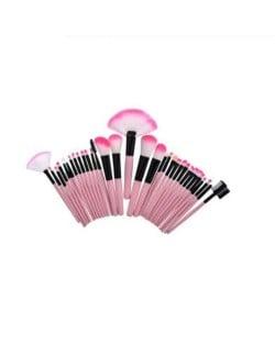 32 pcs Pink Wooden Handle Women Fashion Powder Brush/ Makeup Brushes Set