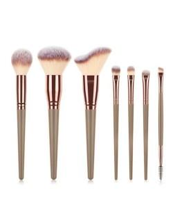 7 pcs Wooden Handle Big Size Women Fashion Powder Brush/ Makeup Brushes Set - Brown