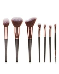 7 pcs Wooden Handle Big Size Women Fashion Powder Brush/ Makeup Brushes Set - Black