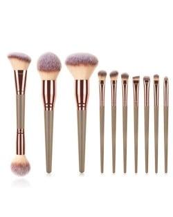 10 pcs Wooden Handle Big Size Women Fashion Powder Brush/ Makeup Brushes Set - Brown