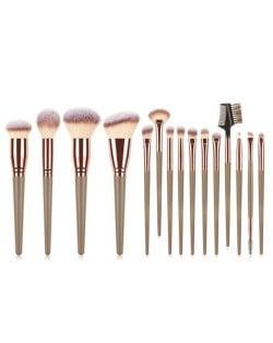 15 pcs Big Size Wooden Handle Women Fashion Powder Brush/ Makeup Brushes Set - Brown