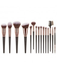 15 pcs Big Size Wooden Handle Women Fashion Powder Brush/ Makeup Brushes Set - Black