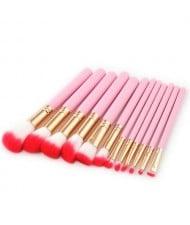 12 pcs Flame Design Pink Handle High Fashion Women Powder Brush/ Makeup Brushes Set