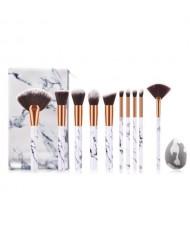 10 pcs Marble Texture Handle High Fashion Women Powder Brush/ Makeup Brushes Set