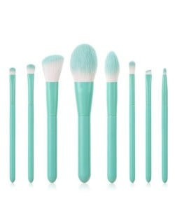 8 pcs Candy Color Wooden Handle High Fashion Women Powder Brush/ Makeup Brushes Set - Teal