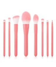 8 pcs Candy Color Wooden Handle High Fashion Women Powder Brush/ Makeup Brushes Set - Pink