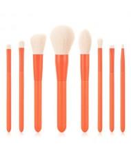 8 pcs Candy Color Wooden Handle High Fashion Women Powder Brush/ Makeup Brushes Set - Orange