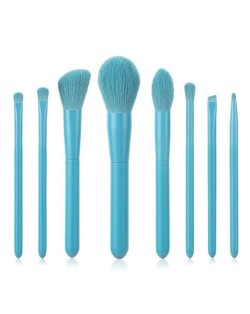8 pcs Candy Color Wooden Handle High Fashion Women Powder Brush/ Makeup Brushes Set - Blue