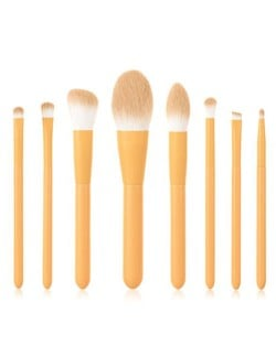 8 pcs Candy Color Wooden Handle High Fashion Women Powder Brush/ Makeup Brushes Set - Yellow