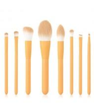 8 pcs Candy Color Wooden Handle High Fashion Women Powder Brush/ Makeup Brushes Set - Yellow