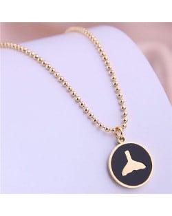 Korean Fashion Fish Tail Black Pendant Stainless Steel Necklace - Golden