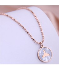 Fish Tail Marble Texture Round Pendant Stainless Steel Necklace - Rose Gold