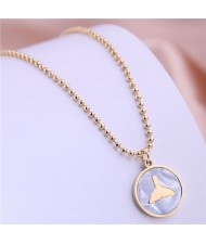 Fish Tail Marble Texture Round Pendant Stainless Steel Necklace - Golden