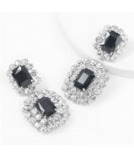Super Shining Rhinestone and Glass Drill Bold Fashion Women Alloy Earrings - Silver