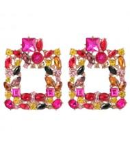 Rhinestone Glistening Square Design High Fashion Women Stud Earrings - Rose