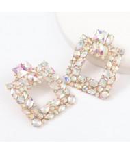 Rhinestone Glistening Square Design High Fashion Women Stud Earrings - Luminous White