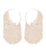 Shining Rhinestone Tassel Hoop High Fashion Internet Celebrity Style Women Costume Earrings - Golden