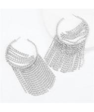 Shining Rhinestone Tassel Hoop High Fashion Internet Celebrity Style Women Costume Earrings - Silver