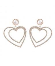 Pearl Inlaid Dual Hearts Shining Fashion Bold Design Women Costume Earrings - Golden