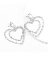 Pearl Inlaid Dual Hearts Shining Fashion Bold Design Women Costume Earrings - Silver