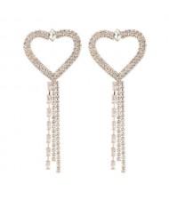 Long Tassel Heart Design Internet Celebrity Choice High Fashion Women Costume Earrings - Golden