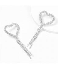 Long Tassel Heart Design Internet Celebrity Choice High Fashion Women Costume Earrings - Silver
