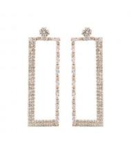 Super Shining Rectangular Design Dangling Fashion Women Statement Earrings - Golden