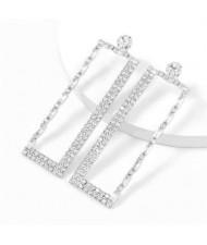 Super Shining Rectangular Design Dangling Fashion Women Statement Earrings - Silver