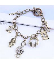 Vintage Fashion Music Elements Pendant Alloy Women Bracelet