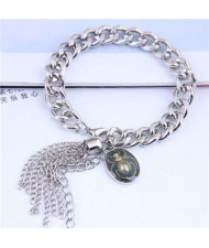 Tassel and Bug Pendant Design Silver Color Women Fashion Bracelet
