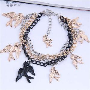 Swallow Pendants Mix Colors Chain High Fashion Women Alloy Bracelet