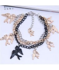 Swallow Pendants Mix Colors Chain High Fashion Women Alloy Bracelet
