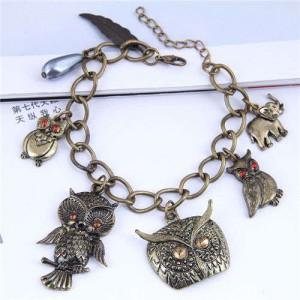 Vintage Night Owl Pendants Fashion Costume Women Alloy Bracelet
