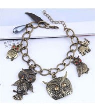 Vintage Night Owl Pendants Fashion Costume Women Alloy Bracelet