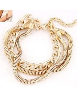 Multi-layer Chain Design Golden Fashion Alloy Women Bracelet