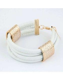 Golden Alloy Decoration Embellished Four Layers Leather Texture Women Fashion Bracelet - White